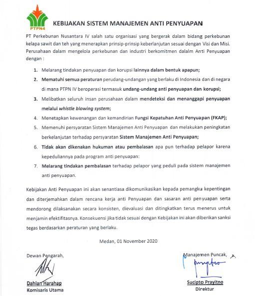 Kebijakan Sistem Manajemen Anti Penyuapan (1)